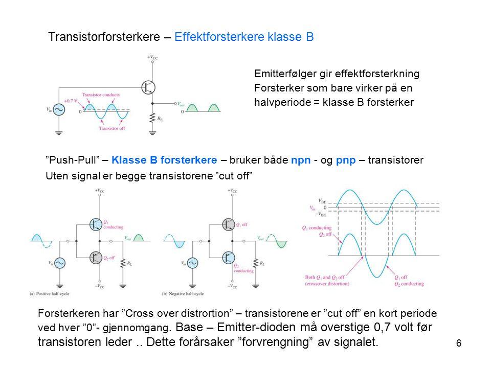 """6 Transistorforsterkere – Effektforsterkere klasse B """"Push-Pull"""" – Klasse B forsterkere – bruker både npn - og pnp – transistorer Uten signal er begge"""