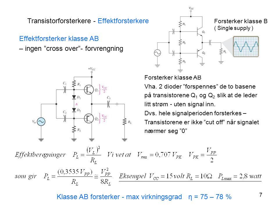 """7 Forsterker klasse AB Vha. 2 dioder """"forspennes"""" de to basene på transistorene Q 1 og Q 2 slik at de leder litt strøm - uten signal inn. Dvs. hele si"""