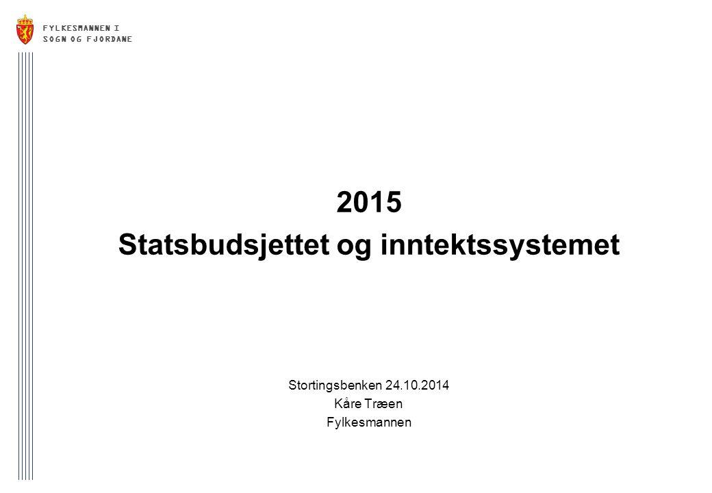 FYLKESMANNEN I SOGN OG FJORDANE 2015 Statsbudsjettet og inntektssystemet Stortingsbenken 24.10.2014 Kåre Træen Fylkesmannen