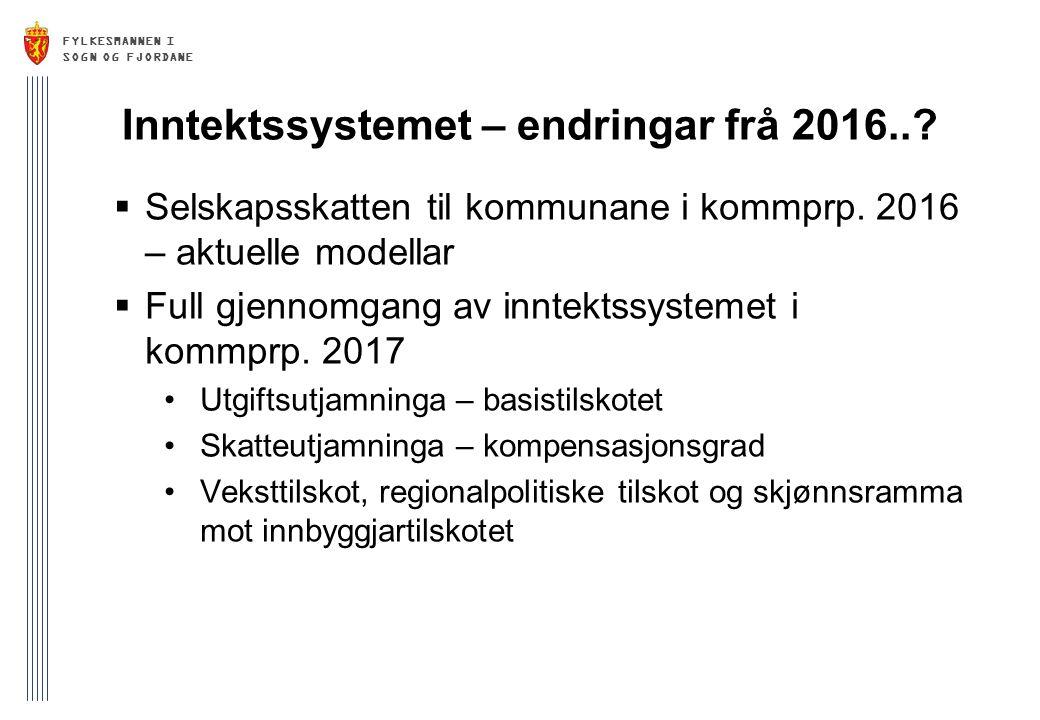 FYLKESMANNEN I SOGN OG FJORDANE Inntektssystemet – endringar frå 2016..?  Selskapsskatten til kommunane i kommprp. 2016 – aktuelle modellar  Full gj