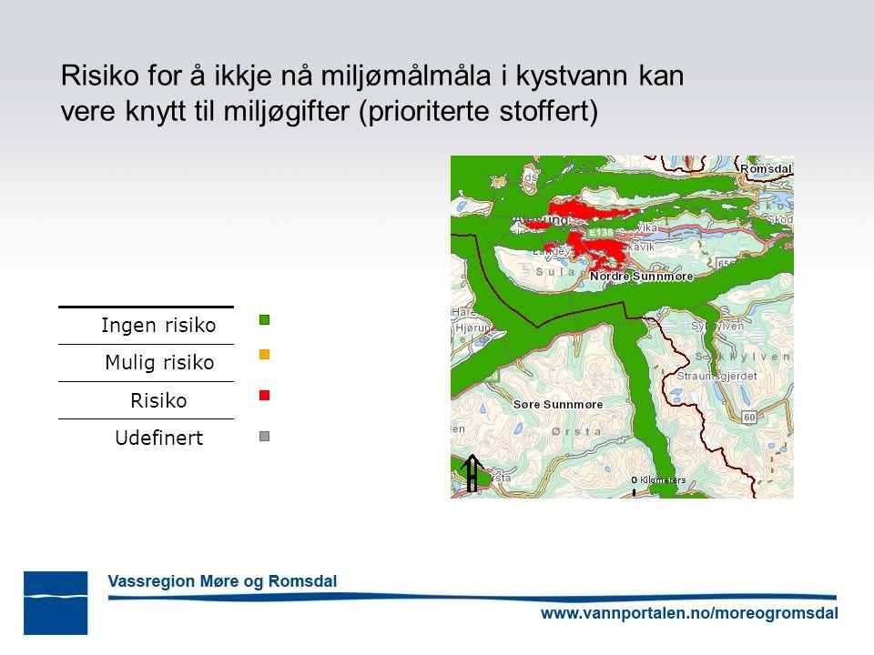Risiko for å ikkje nå miljømålmåla i kystvann kan vere knytt til miljøgifter (prioriterte stoffert) Ingen risiko Mulig risiko Risiko Udefinert