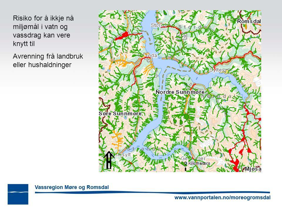 Risiko for å ikkje nå miljømål i vatn og vassdrag kan vere knytt til Avrenning frå landbruk eller hushaldninger