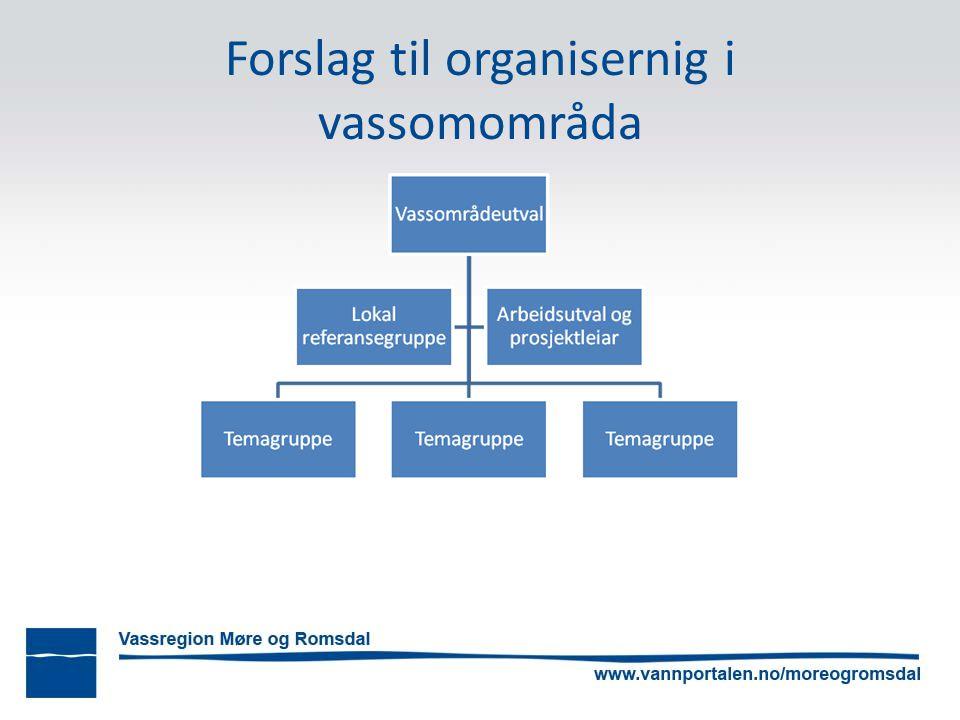 Forslag til organisernig i vassomområda