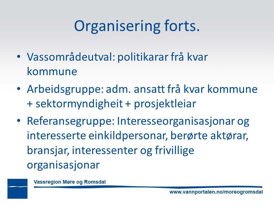 Organisering forts. Vassområdeutval: politikarar frå kvar kommune Arbeidsgruppe: adm.