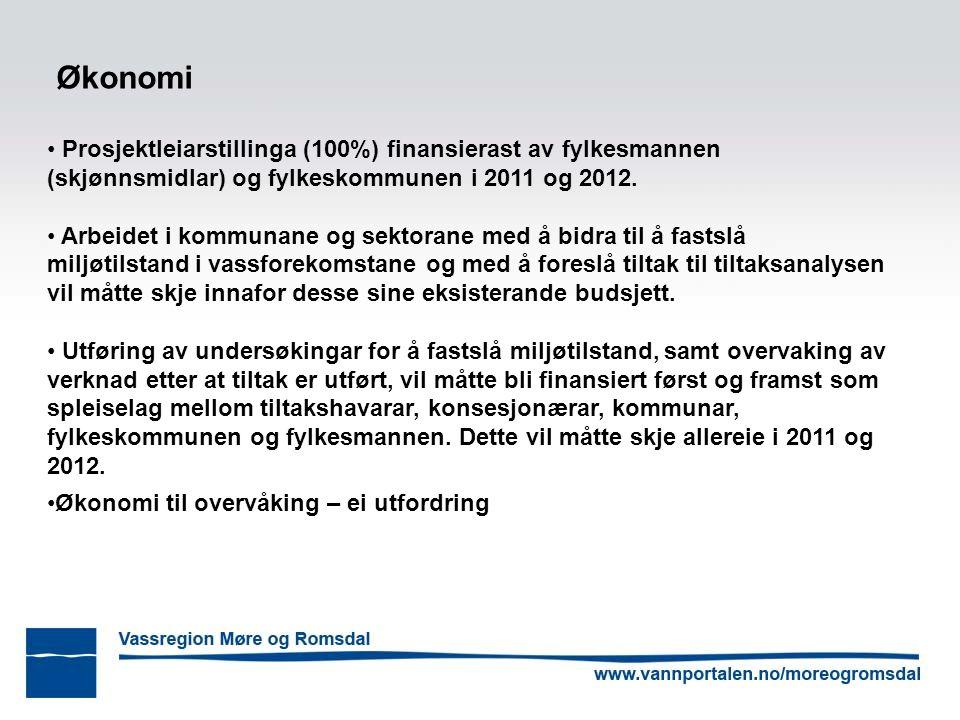 Økonomi Prosjektleiarstillinga (100%) finansierast av fylkesmannen (skjønnsmidlar) og fylkeskommunen i 2011 og 2012. Arbeidet i kommunane og sektorane
