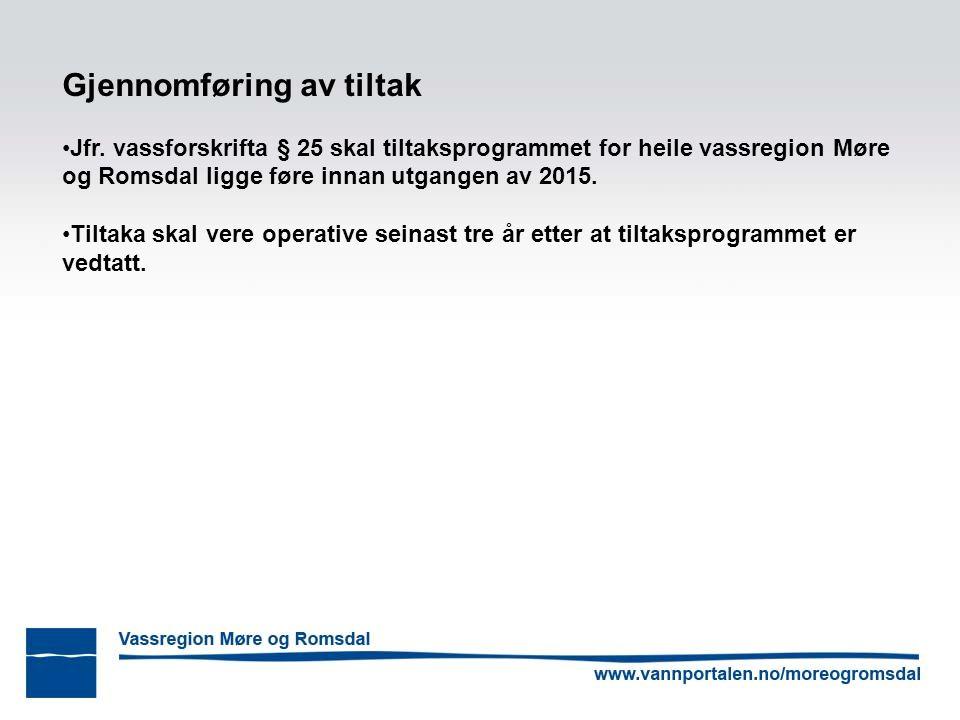 Gjennomføring av tiltak Jfr. vassforskrifta § 25 skal tiltaksprogrammet for heile vassregion Møre og Romsdal ligge føre innan utgangen av 2015. Tiltak