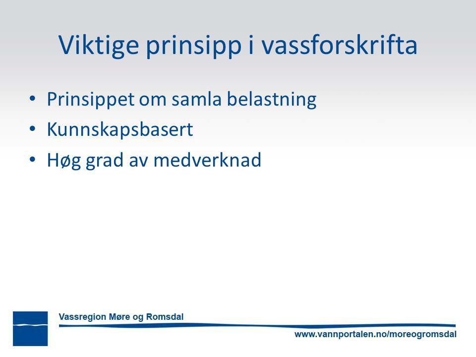 Viktige prinsipp i vassforskrifta Prinsippet om samla belastning Kunnskapsbasert Høg grad av medverknad