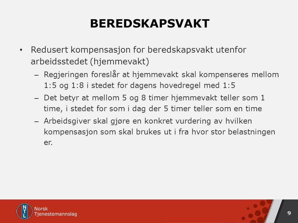 BEREDSKAPSVAKT Redusert kompensasjon for beredskapsvakt utenfor arbeidsstedet (hjemmevakt) – Regjeringen foreslår at hjemmevakt skal kompenseres mellom 1:5 og 1:8 i stedet for dagens hovedregel med 1:5 – Det betyr at mellom 5 og 8 timer hjemmevakt teller som 1 time, i stedet for som i dag der 5 timer teller som en time – Arbeidsgiver skal gjøre en konkret vurdering av hvilken kompensasjon som skal brukes ut i fra hvor stor belastningen er.