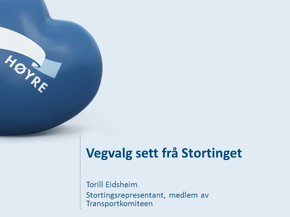 Vegvalg sett frå Stortinget Torill Eidsheim Stortingsrepresentant, medlem av Transportkomiteen