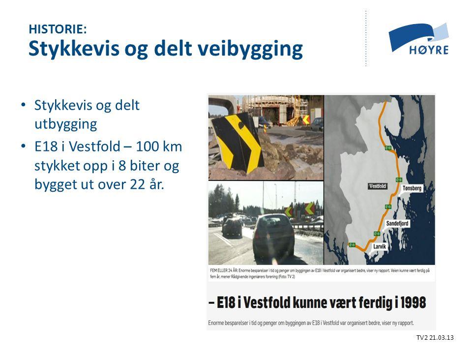 Stykkevis og delt utbygging E18 i Vestfold – 100 km stykket opp i 8 biter og bygget ut over 22 år.