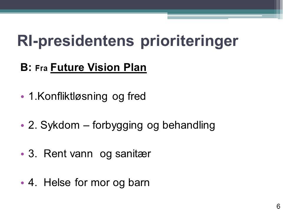 RI-presidentens prioriteringer B: Fra Future Vision Plan 1.Konfliktløsning og fred 2.