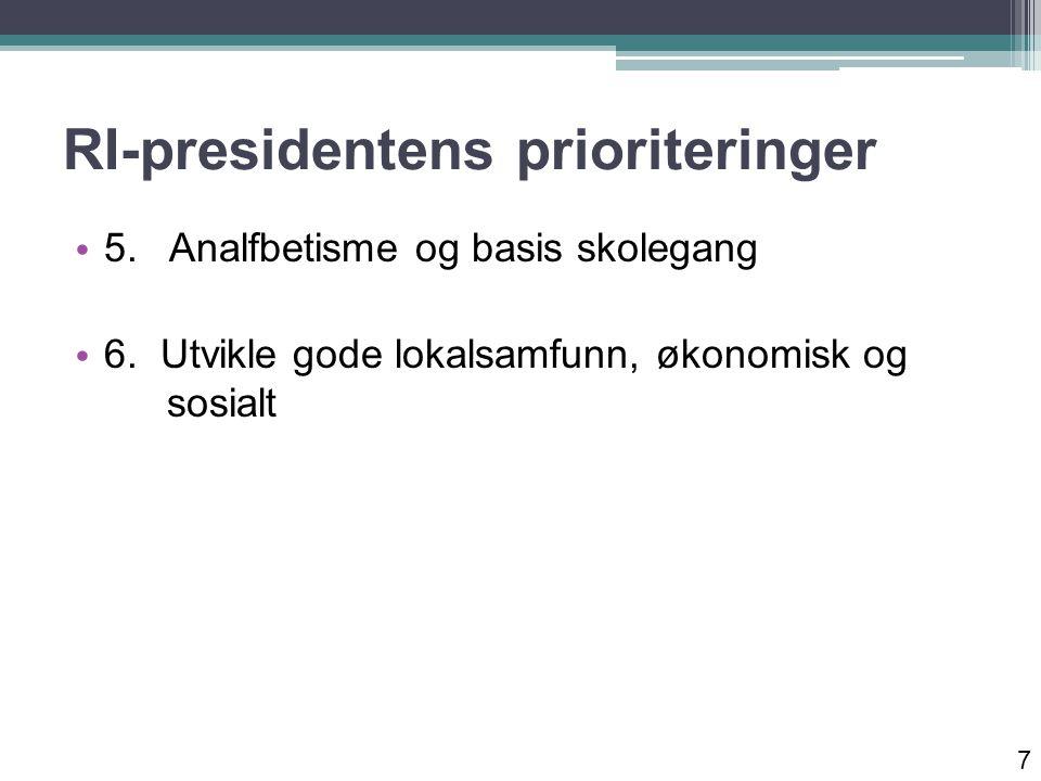 RI-presidentens prioriteringer 5. Analfbetisme og basis skolegang 6.
