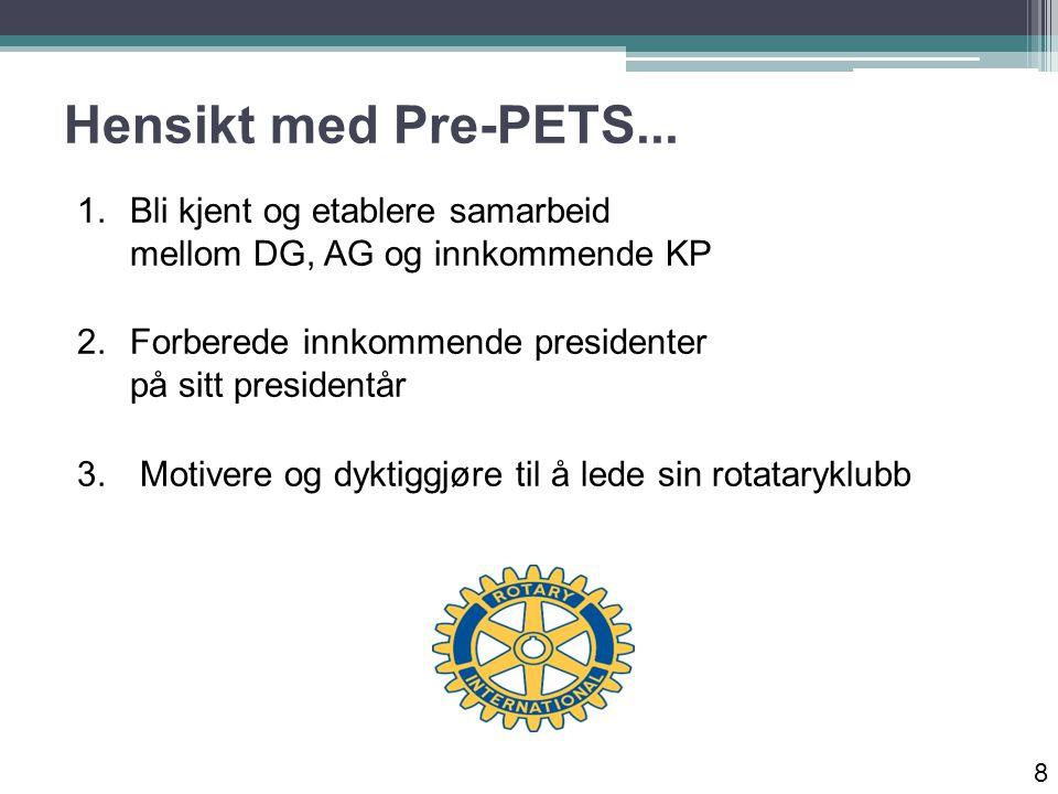 Hensikt med Pre-PETS...