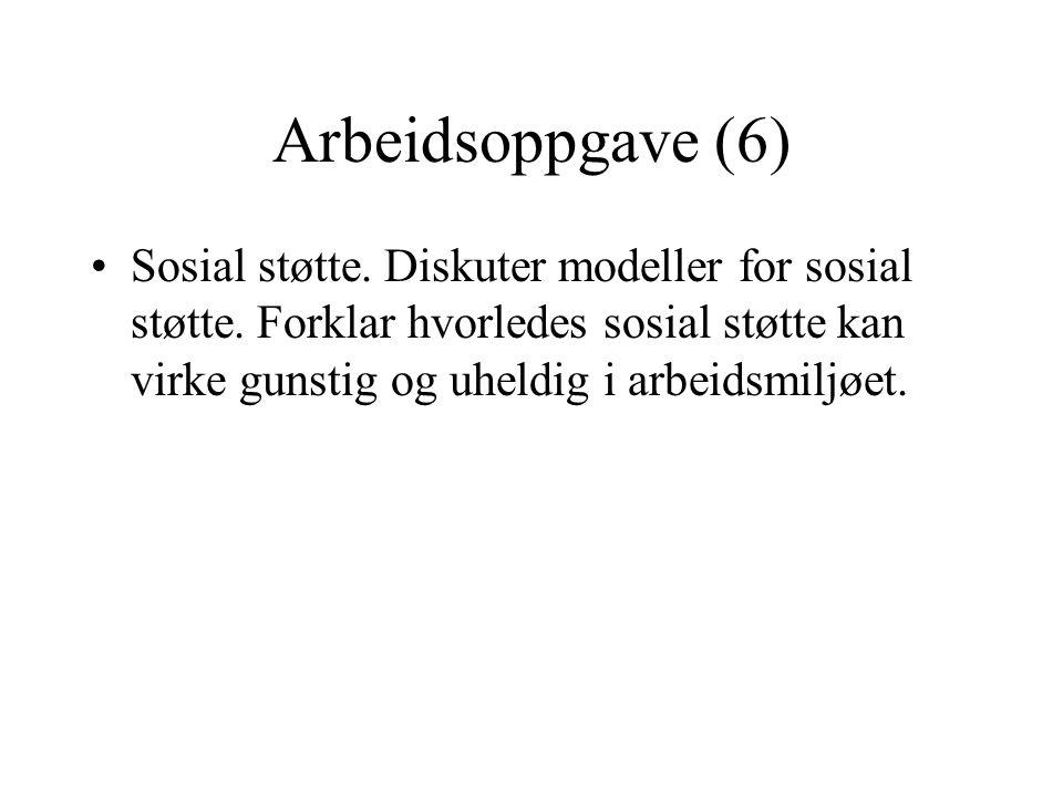 Arbeidsoppgave (6) Sosial støtte. Diskuter modeller for sosial støtte.