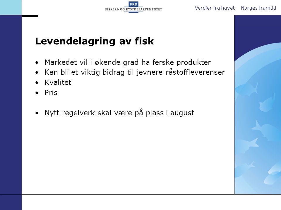 Verdier fra havet – Norges framtid Levendelagring av fisk Markedet vil i økende grad ha ferske produkter Kan bli et viktig bidrag til jevnere råstoffleverenser Kvalitet Pris Nytt regelverk skal være på plass i august