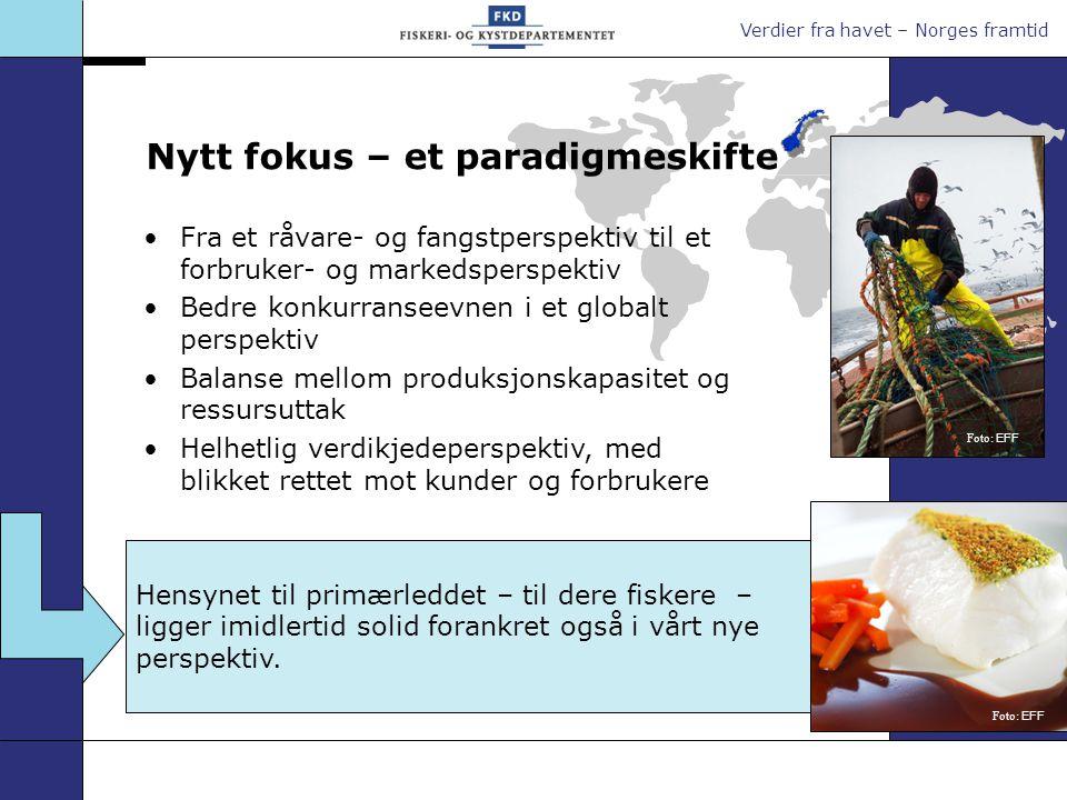 Verdier fra havet – Norges framtid Hensynet til primærleddet – til dere fiskere – ligger imidlertid solid forankret også i vårt nye perspektiv. Fra et