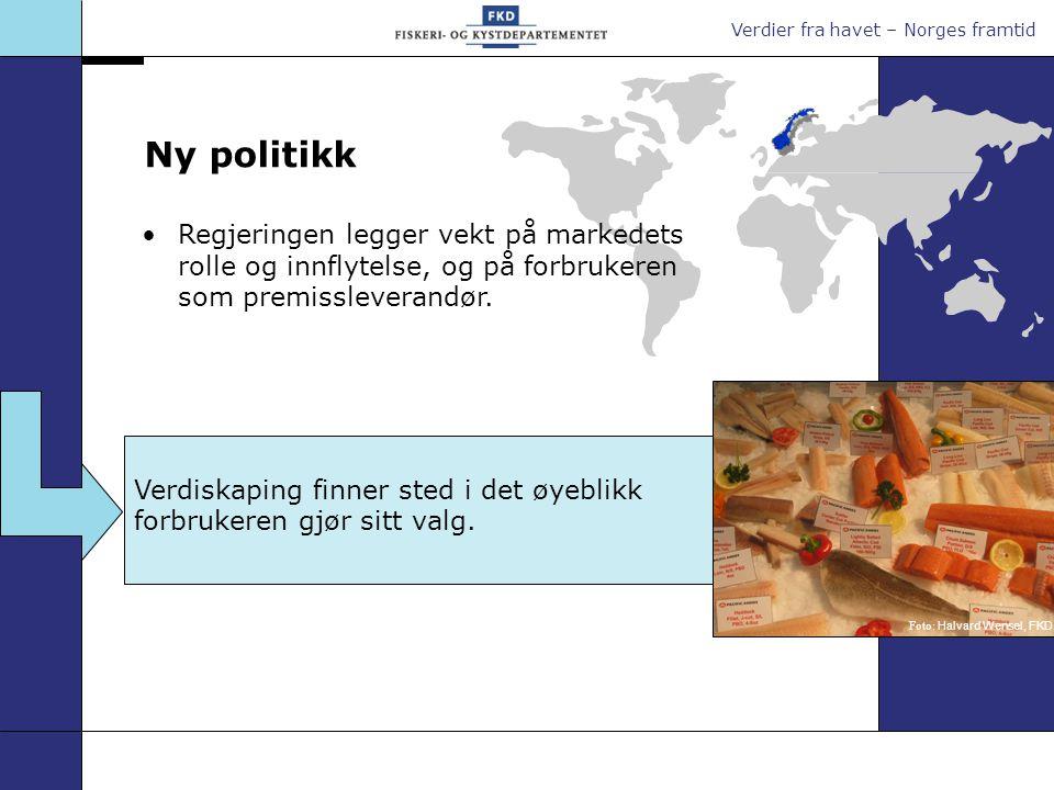 Verdier fra havet – Norges framtid Ny politikk Verdiskaping finner sted i det øyeblikk forbrukeren gjør sitt valg. Regjeringen legger vekt på markedet