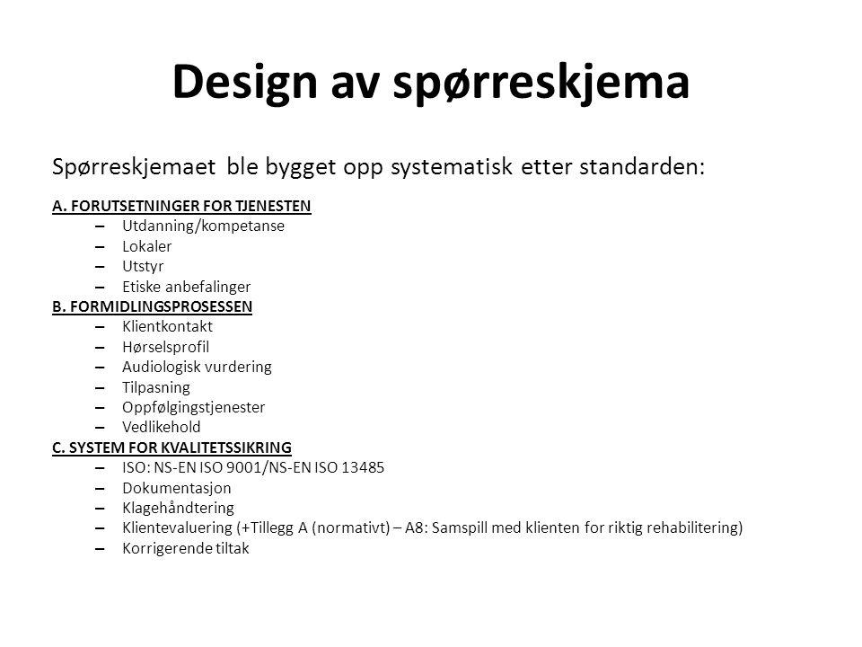 Design av spørreskjema Spørreskjemaet ble bygget opp systematisk etter standarden: A. FORUTSETNINGER FOR TJENESTEN – Utdanning/kompetanse – Lokaler –