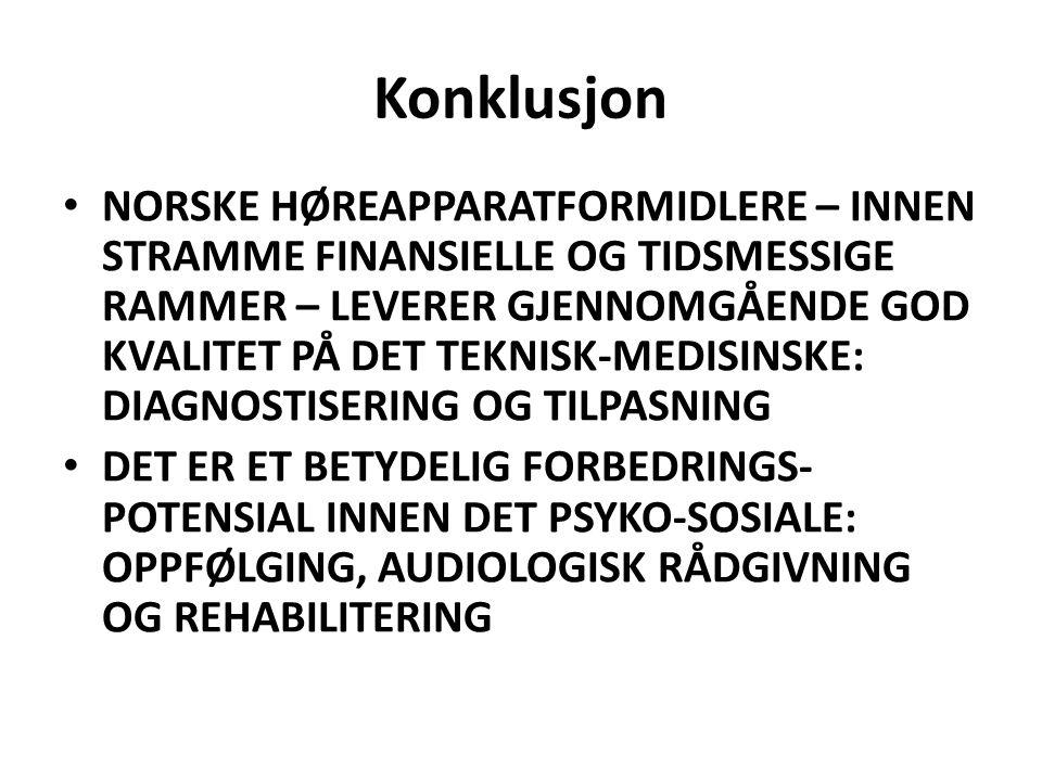 Konklusjon NORSKE HØREAPPARATFORMIDLERE – INNEN STRAMME FINANSIELLE OG TIDSMESSIGE RAMMER – LEVERER GJENNOMGÅENDE GOD KVALITET PÅ DET TEKNISK-MEDISINS