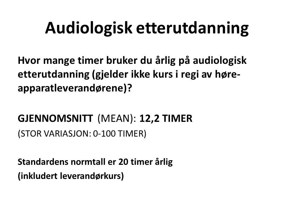 Audiologisk etterutdanning Hvor mange timer bruker du årlig på audiologisk etterutdanning (gjelder ikke kurs i regi av høre- apparatleverandørene)? GJ