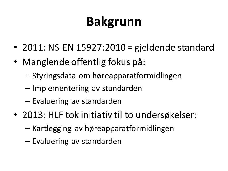 Bakgrunn 2011: NS-EN 15927:2010 = gjeldende standard Manglende offentlig fokus på: – Styringsdata om høreapparatformidlingen – Implementering av stand