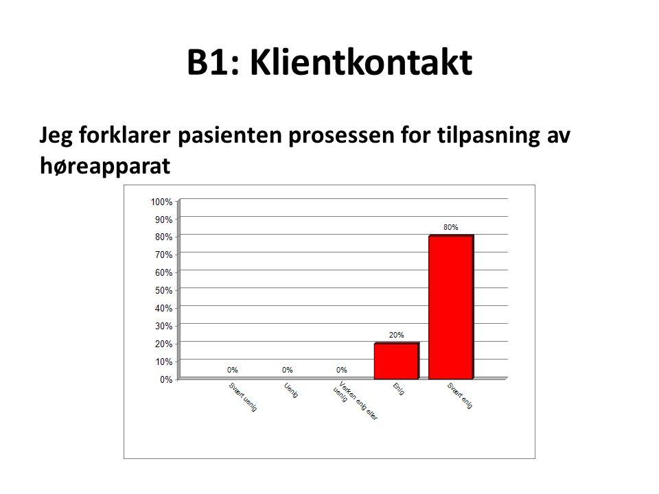 B1: Klientkontakt Jeg forklarer pasienten prosessen for tilpasning av høreapparat