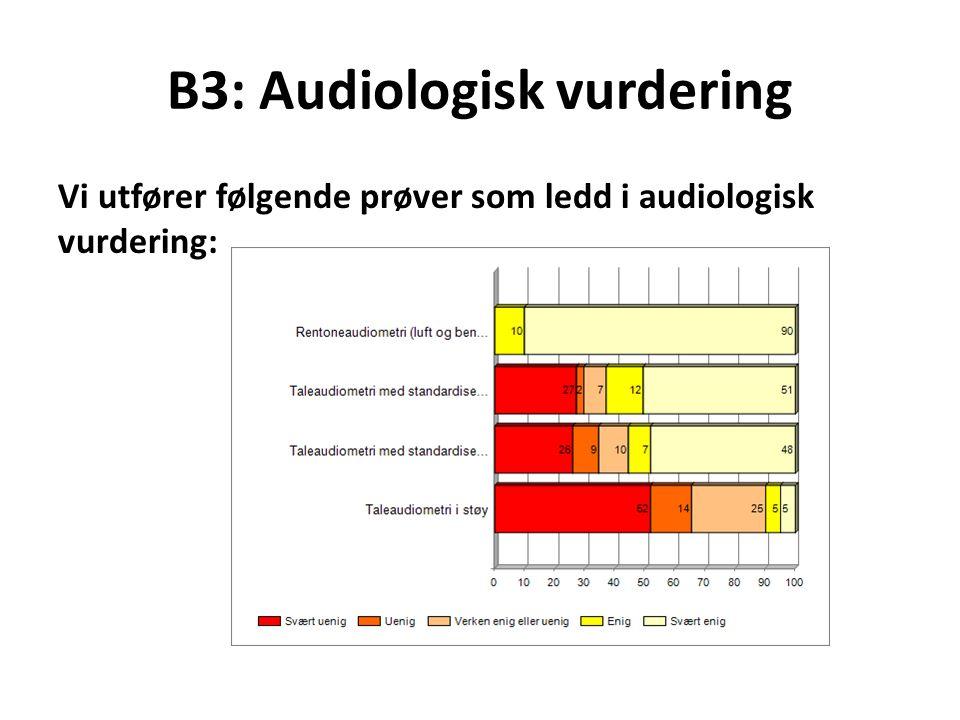 B3: Audiologisk vurdering Vi utfører følgende prøver som ledd i audiologisk vurdering: