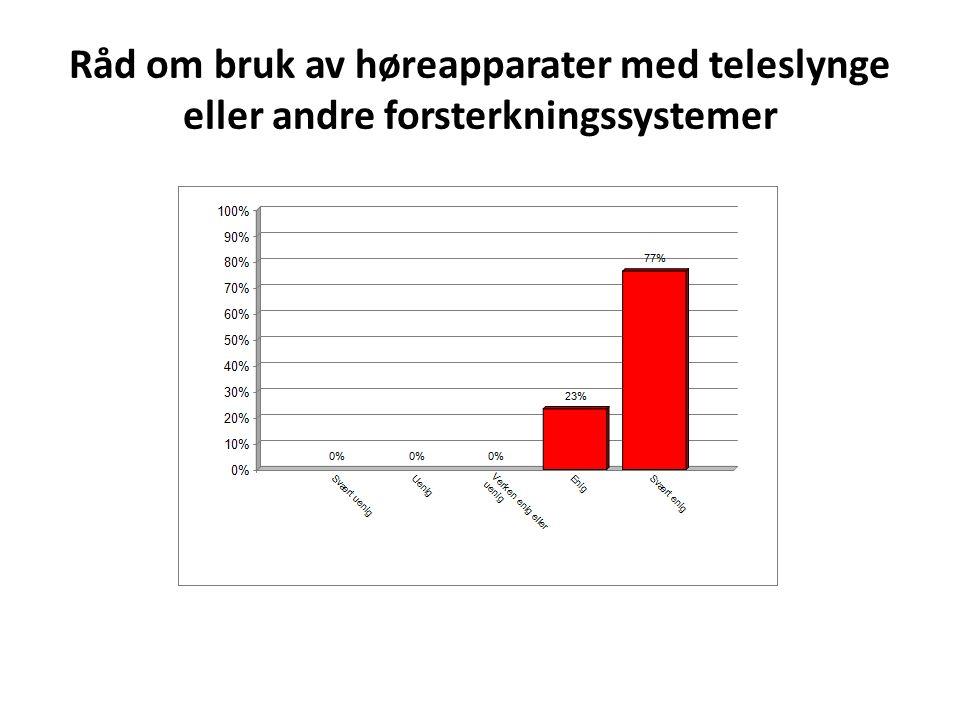 Råd om bruk av høreapparater med teleslynge eller andre forsterkningssystemer