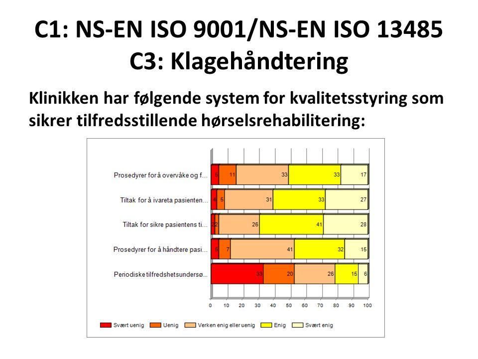C1: NS-EN ISO 9001/NS-EN ISO 13485 C3: Klagehåndtering Klinikken har følgende system for kvalitetsstyring som sikrer tilfredsstillende hørselsrehabili