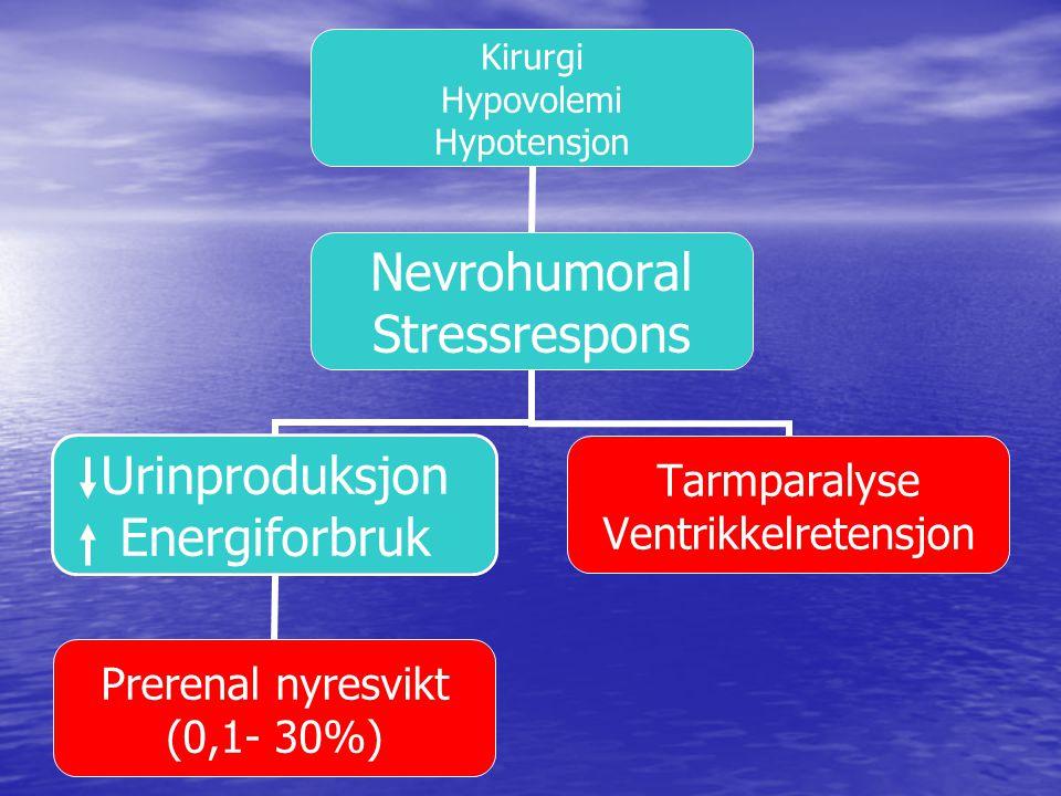 Sympatisk impulsaktivitet RAAS ADH Reabsorbsjon Na+ og vann Sekresjon K+ Urinproduksjon O2-tilbud Energiforbruk Omfordeling Av blodstrøm Perfusjon Nyre og tarm Mage Tarm Peristaltikk Tarmparalyse Ventrikkelretensjon Hypotesjon/ hypovolemi