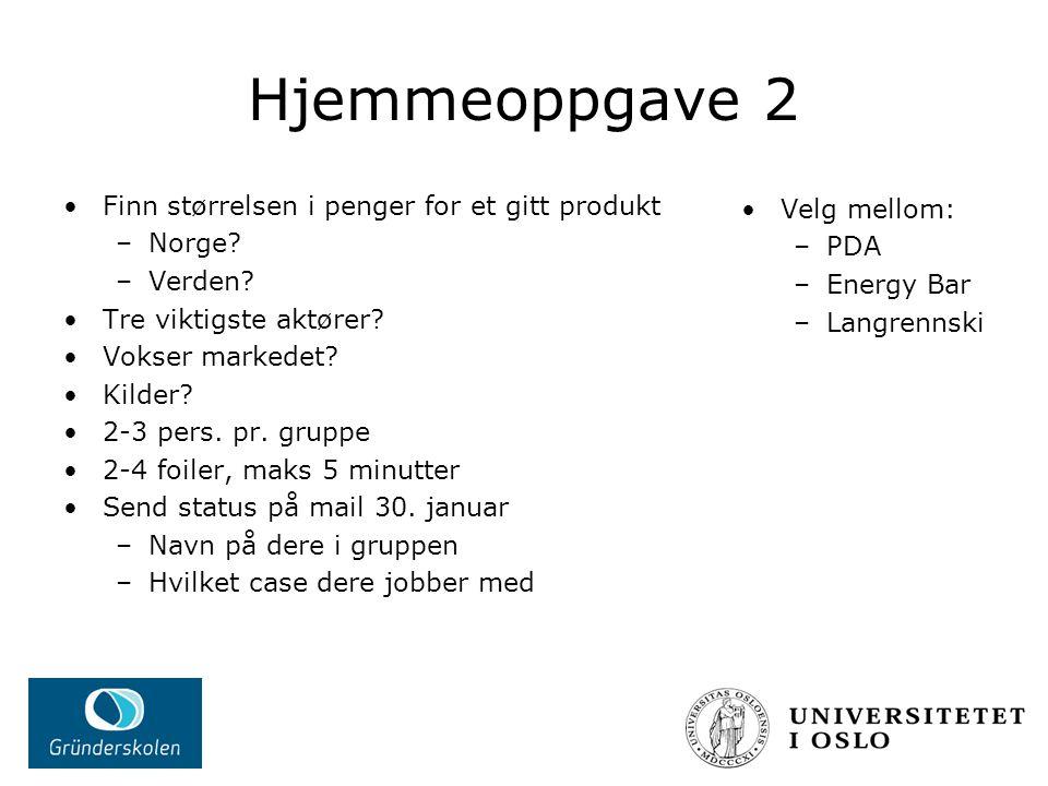 Hjemmeoppgave 2 Finn størrelsen i penger for et gitt produkt –Norge.