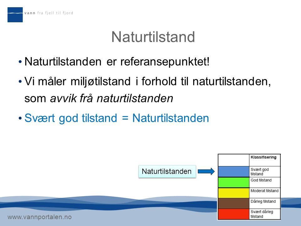 www.vannportalen.no Naturtilstand Naturtilstanden er referansepunktet! Vi måler miljøtilstand i forhold til naturtilstanden, som avvik frå naturtilsta