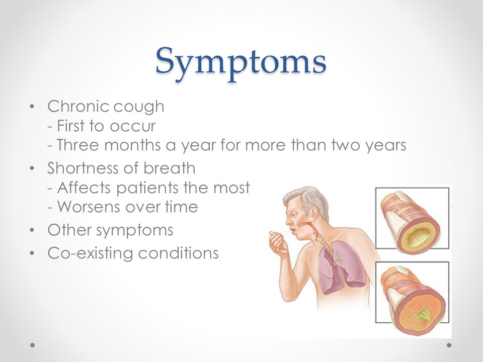 Symptoms Chronic cough - First to occur - Three months a year for more than two years Shortness of breath - Affects patients the most - Worsens over time Other symptoms Co-existing conditions