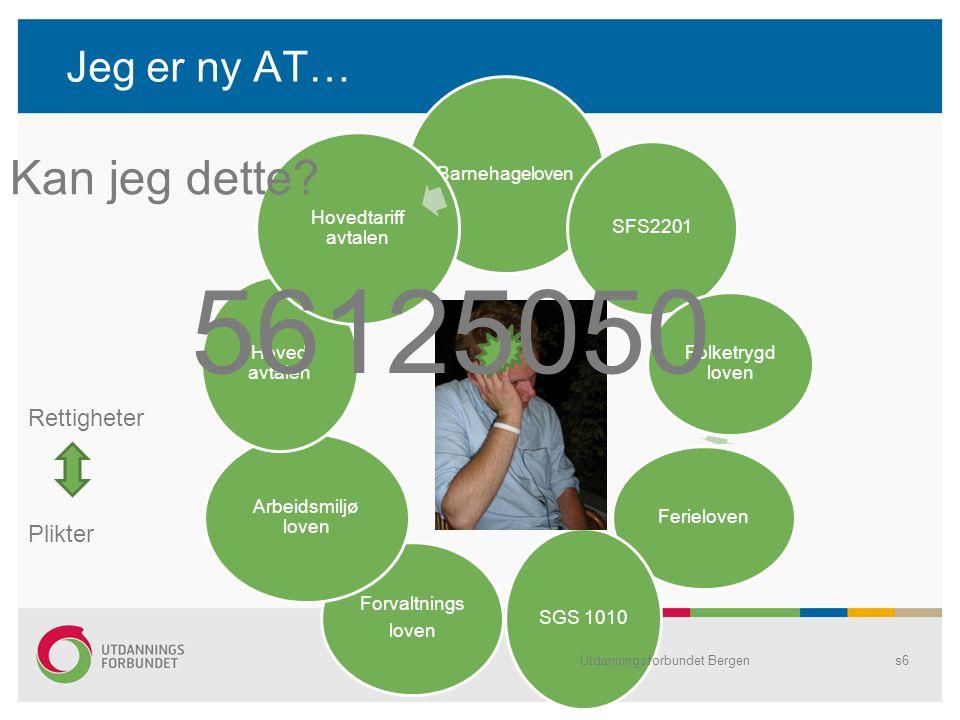 Jeg er ny AT… Barnehageloven SFS2201 Folketrygd loven Ferieloven SGS 1010 Forvaltnings loven Arbeidsmiljø loven Hoved avtalen Hovedtariff avtalen Utdanningsforbundet Bergens6 Kan jeg dette.