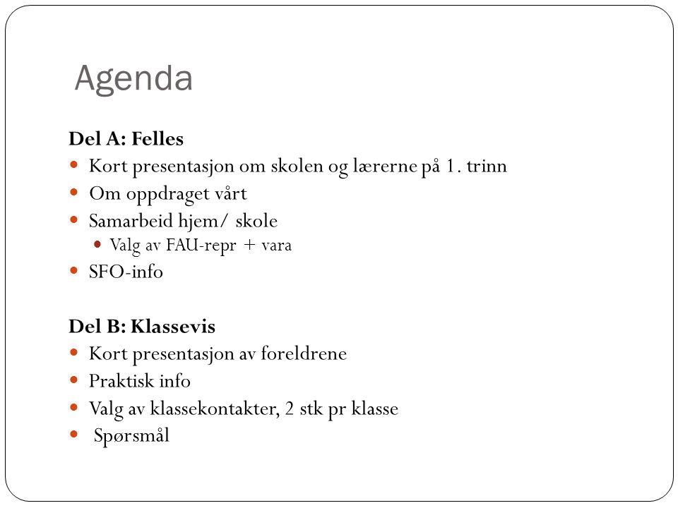 Agenda Del A: Felles Kort presentasjon om skolen og lærerne på 1.