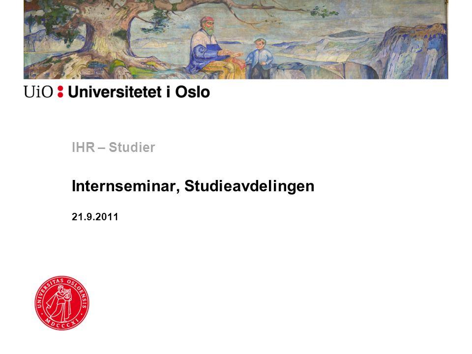 IHR – Studier Internseminar, Studieavdelingen 21.9.2011