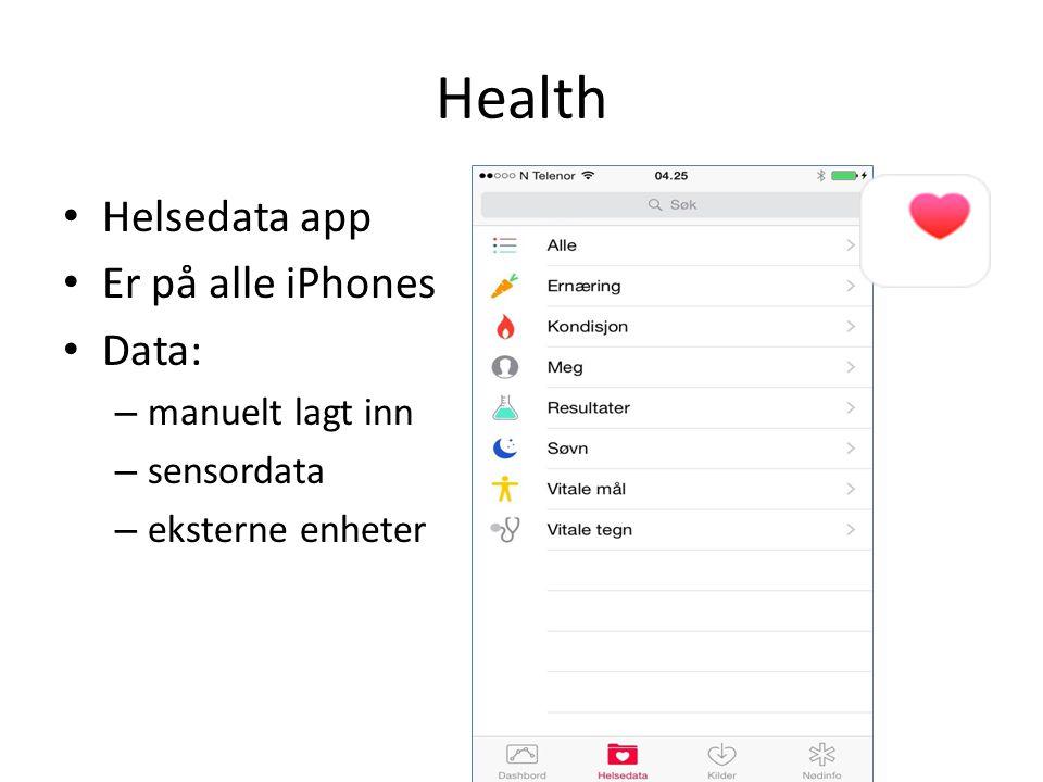 Health Helsedata app Er på alle iPhones Data: – manuelt lagt inn – sensordata – eksterne enheter