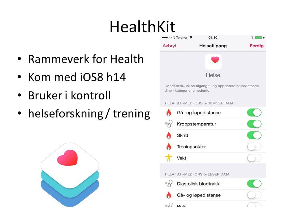HealthKit Rammeverk for Health Kom med iOS8 h14 Bruker i kontroll helseforskning / trening