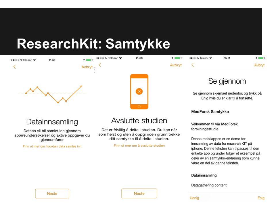 ResearchKit: Samtykke Sensitiv informasjon