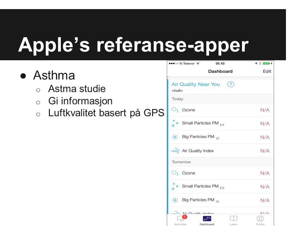 Apple's referanse-apper ●Asthma o Astma studie o Gi informasjon o Luftkvalitet basert på GPS