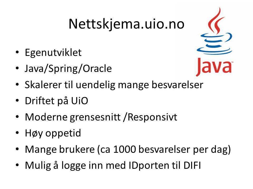 Egenutviklet Java/Spring/Oracle Skalerer til uendelig mange besvarelser Driftet på UiO Moderne grensesnitt /Responsivt Høy oppetid Mange brukere (ca 1