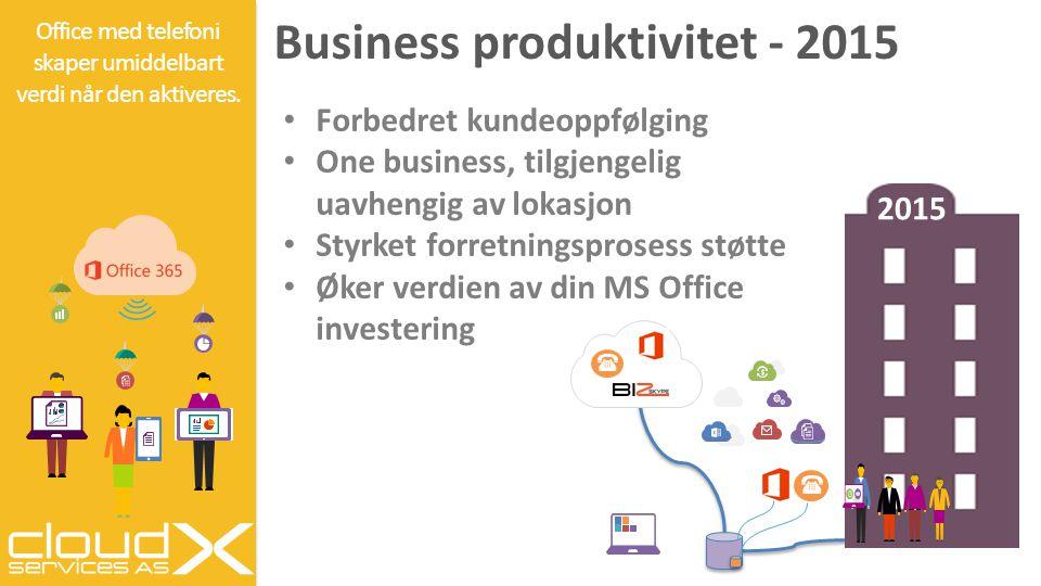 2015 Business produktivitet - 2015 Office med telefoni skaper umiddelbart verdi når den aktiveres. Forbedret kundeoppfølging One business, tilgjengeli
