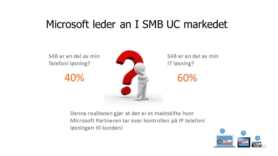 Microsoft leder an I SMB UC markedet 37 S4B er en del av min Telefoni løsning.
