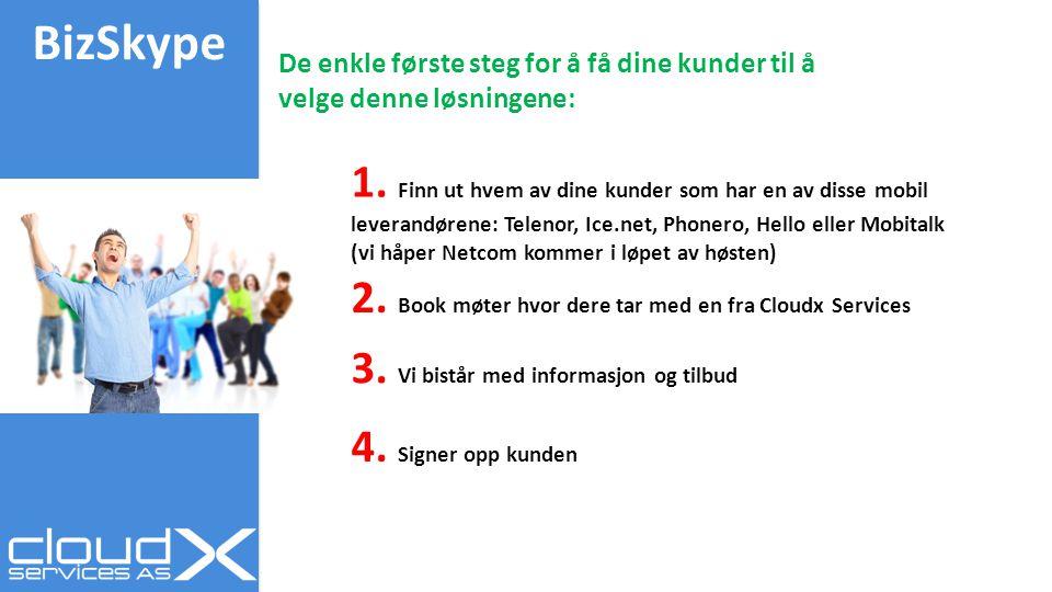 BizSkype 1. Finn ut hvem av dine kunder som har en av disse mobil leverandørene: Telenor, Ice.net, Phonero, Hello eller Mobitalk (vi håper Netcom komm