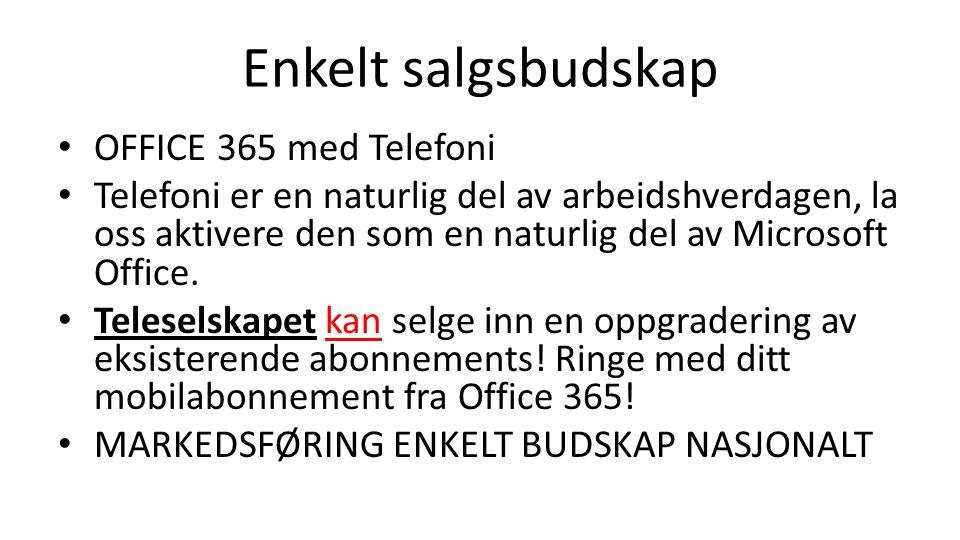 Enkelt salgsbudskap OFFICE 365 med Telefoni Telefoni er en naturlig del av arbeidshverdagen, la oss aktivere den som en naturlig del av Microsoft Offi