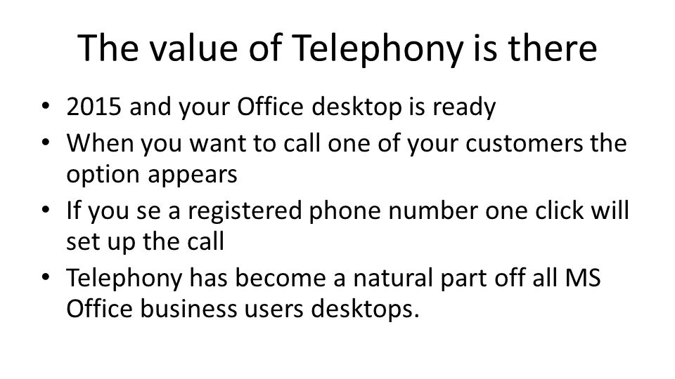 The value of Telephony is there 2015 and your Office desktop is ready When you want to call one of your customers the option appears If you se a regis