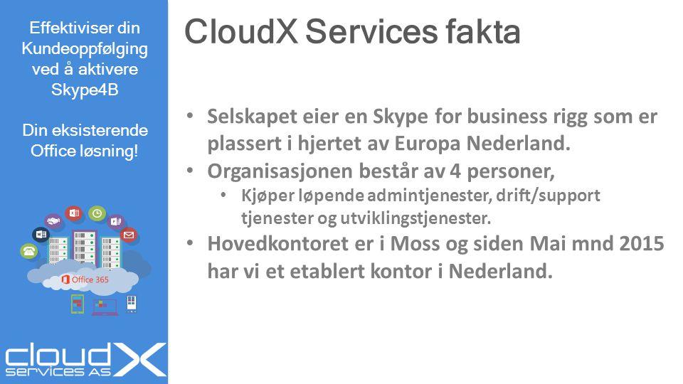 CloudX Services fakta Effektiviser din Kundeoppfølging ved å aktivere Skype4B Din eksisterende Office løsning! Selskapet eier en Skype for business ri