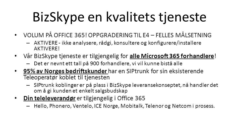 BizSkype en kvalitets tjeneste VOLUM PÅ OFFICE 365.