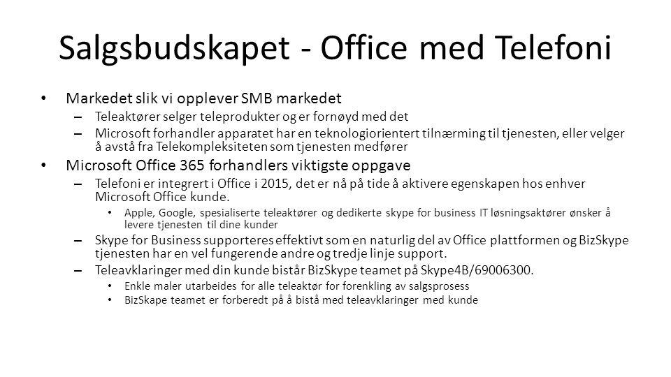 Salgsbudskapet - Office med Telefoni Markedet slik vi opplever SMB markedet – Teleaktører selger teleprodukter og er fornøyd med det – Microsoft forhandler apparatet har en teknologiorientert tilnærming til tjenesten, eller velger å avstå fra Telekompleksiteten som tjenesten medfører Microsoft Office 365 forhandlers viktigste oppgave – Telefoni er integrert i Office i 2015, det er nå på tide å aktivere egenskapen hos enhver Microsoft Office kunde.