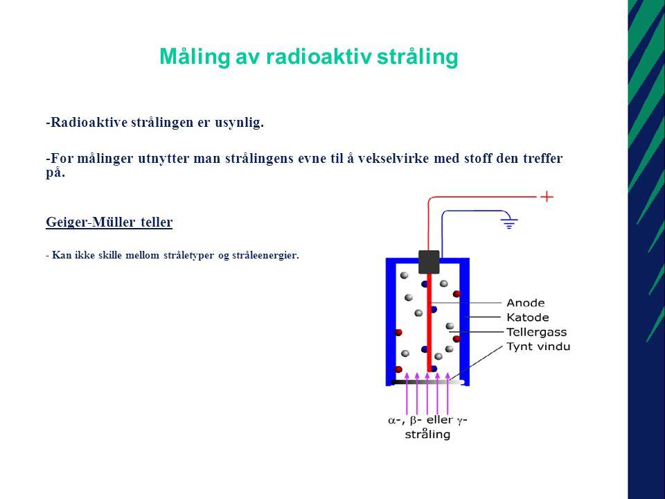 Måling av radioaktiv stråling II Scintillasjonsteller -Når en ustabil atomkjerne har sendt ut alfa - eller beta -stråling er datterkjernen ofte i en eksitert tilstand.